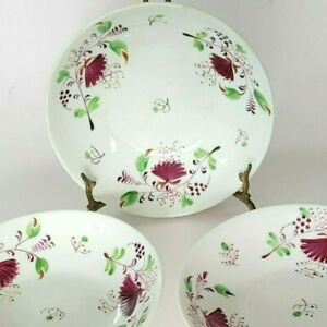 3 Antique Early Staffordshire Bowls Sprig of Red Flowers Stick Spatter Lot Set