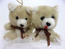 "VTG 1980s (2) 4"" Plush Bear Hanging Christmas Tree Ornaments Stuffed Animal Toys"