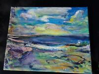 modern original small acrylic painting colorful landscape contemporary art