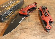 TAC-FORCE Assisted Opening RED FIRE FIGHTER Bottle Opener Glass Breaker Knife!!!