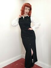 Vtg 1940's Style Black Knit Jumper Dress w/ White Puff Sleeve Blouse 2pc Pin-Up