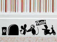 Pizza Delivery Mouse Wall Art Sticker Vinyl Decal Mice Home Skirting Board