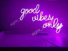 "Rare Good Vibes Only Bar Pub Wall Decor Acrylic Box Neon Light Sign 14"""