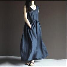 Women Ethnic Maxi Dress V-neck Sleeveless Cotton Linen Loose Long Dresses Summer