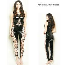 Black Laced Cut Out Bodycon Faux Patent Leather Wetlook Dungeon Catsuit Jumpsuit