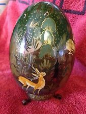 HANDPAINTED EGG-GOLD HUNTER ANTELOPE RABBIT- KASHMIRI KASHMIR-