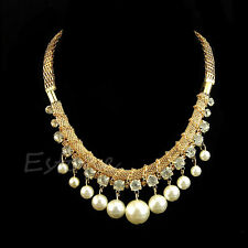 Women Jewelry Big Pearl Crystal Pendant Chunky Bib Chain Choker Fashion Necklace