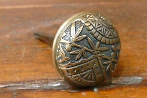 Beautiful Antique Cast Brass Bronze Door Knob Victorian Eastlake Leaf Design
