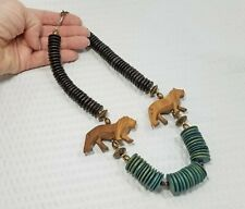 Vintage Ethnic Carved Lion and Disk Bead African Art Necklace