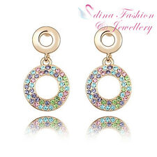 18K Gold GP Made With Swarovski Crystal Rainbow Bubble Colorful Stud Earrings