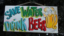 SAVE WATER DRINK BEER-BAR TROPICAL TIKI HUT POOL PATIO PARROTHEAD SIGN PLAQUE