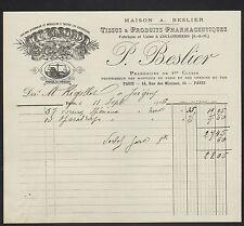 """PARIS (III°) USINE à COULOMMIERS (77) PRODUITS PHARMACEUTIQUES """"P. BESLIER"""" 1906"""