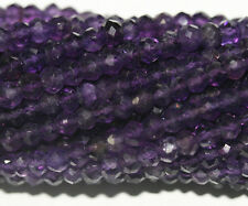 "AAA14"" St African  Amethyst Faceted Rondelle Beads  4mm"