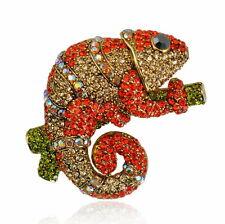 Lovely Chameleon Anole Czech Crystal Animal Brooch Pin 5.3cm x 4cm