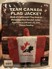 Team Canada Flag Jacket Hickey Adult L/XL Lightweight Water Repellent Hooded NEW