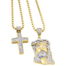 925 Sterling Silver Genuine Diamond Mini Pave Jesus Pendant and Cross Set .88 Ct