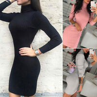 Women's Jumper Warm Knit Dress Solm Long Sweater Turtleneck Tight High Collar
