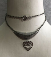 1950s Heart Necklace Pendant Chain Silver Plated Metal Filigree Vintage Retro