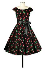 PLUS SZ 4X 26W RETRO 50s 60s RED CHERRY CHIC VTG PINUP BLACK COUTURE SWING DRESS