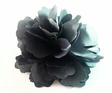 """USA"" Hair Fabric Flower Clip Brooch Womens Rose Peony Lady Sheer Gray Pin 04"