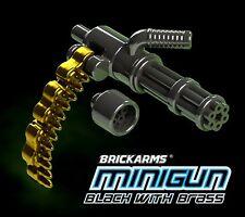 BRICKARMS MINIGUN for Custom Minifigures NEW Soldier Military -Black with Brass