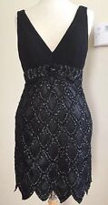 SIze 10 *  SUE WONG 1920's Gatsby Black Beaded Embellished Cocktail Dress