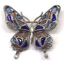 Vintage Crown Trifari Poured Glass Modern Mosaic Butterfly Brooch