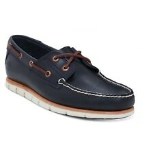 Timberland Tidelands 2 Eye Boat Shoes Leather Casual Deck Shoe Indigo Blue
