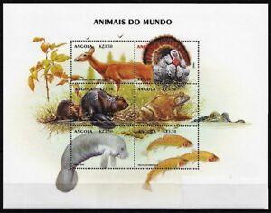 Angola 2000 MNH SS, Frog, Fish, Deer, Animals, Birds  Wild Turkey