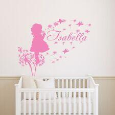 Dandelion Wall Decal Girl Name Vinyl Sticker Baby Girl Name Nursery Art T124