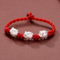 "Handmade Sterling 925 Silver Three 3D Coin Pixiu Red Cord Knitted Bracelet 6.3""L"