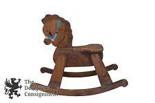 "Cute Handmade Vintage Oak Children's Rocking Horse Pony Rocker Carousel 31"""