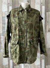 Zara Khaki Green Camouflage Utility Embroidered Aztec Design Jacket Size XS