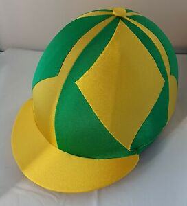 RIDING HAT COVER - YELLOW & EMERALD GREEN WITH XL DIAMONDS & BUTTON