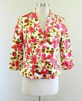 NWT Ann Taylor White Pink Red Floral Print 3/4 Sleeve Blazer Jacket Sz 2 Peplum