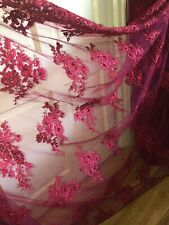 """1 MTR WINE MAROON EMBROIDED PEARL SCALLOPED BRIDAL TULLE NET FABRIC 52"""" WIDE"""