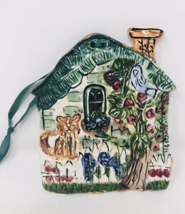 Ceramic Hand Painted House Wall Hanging Trivet Cat Bird Apple Tree Glazed Signed