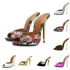 Women Open Toe Stiletto Heels Slippers Shoes Floral Printed Mules Sandals Party