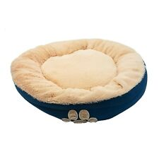 LUXURY HIGH QUALITY SUPERSOFT FLEECE SUEDE PAWS PET DOG TEAL BLUE ROUND BASKET