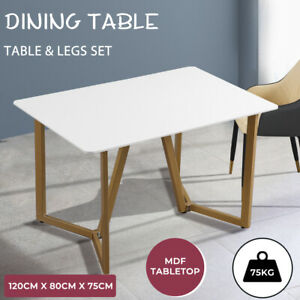 Levede Dining Table For 4  Steel Legs Coffee Table White Chic Top Shelf 120CM