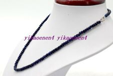 """New 2x4mm Dark Blue Faceted Rondelle Sapphire Gemstone Beads Silver Chasp 18""""AA"""