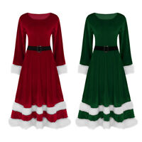 Womens Velvet Long Sleeves Christmas Costume Mrs Miss Santa Claus Cosplay Outfit