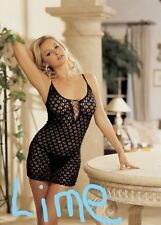 Lime Lace Up Front Re-Embroidered Stretch Chemise with G-string One Size 90046