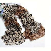 Noble Fashion Women's Long Soft Wrap Lady Shawl Silk Leopard Chiffon Scarfs New