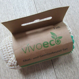 VivoEco - Reusable 100% Cotton Drawstring Bags For Fruit & Veg - 3 Size Set.