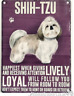 20cm Vintage Style Metal Shih Tzu Breed character Sign Plaque dog lover gift