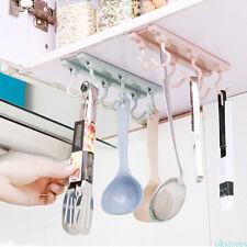 6 Hook Cup Holder Hang Kitchen Cabinet Under Shelf Storage Rack Organiser