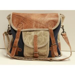 Blue Canvas and Leather Unisex Satchel Bag
