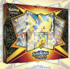 NEW POKEMON TCG: SHINING FATES PIKACHU V BOX | 4 Booster Packs SEALED