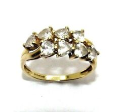 Ladies/womens 14ct/14carat yellow gold ring with heart shaped CZ stones